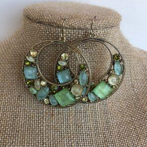 Blue and Green Gem Earrings